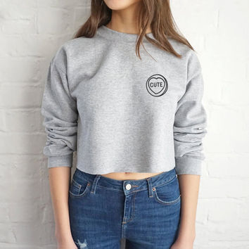 Alphabet Simple Design Crop Top Tops Long Sleeve Pullover Casual Hoodies [9522168196]