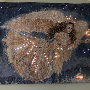 Tapestry with LED Lights - Angel
