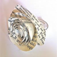 Wholesale Rings Vintage Paper Rose x5  Shabby by ArtbyJennieUK