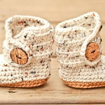 Crochet Baby Booties - Baby Moccasins - Earthy Brown and Natural Tweed Baby Shoes - In