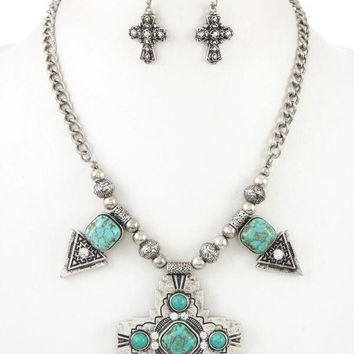 Sign of the Cross Turquoise Necklace Set