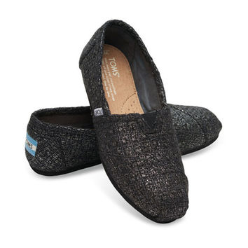 TOMS Black Glitter Wool Women's Classic Shoes