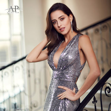 Women Party Sparkle Dress Alisa Pan Long Maxi Deep V-Neck 2017 EP07109GY Grey Silver Mesh Cross Back Shiny Sequins Gown Dresses