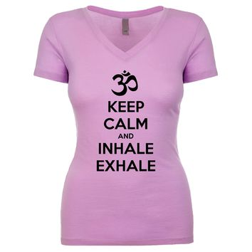 Keep Calm And Inhale Exhale (OM) Women's V Neck