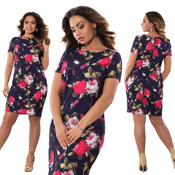 Plus-Size Flowers Print Dress Straight Elegant Dresses Women Clothing Vestidos