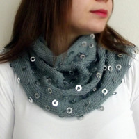 Sequin Scarf Valentines Day Gift Scarf, Metallic Dot Infinity Scarf,Chunky Cowl Neckwarmer Antibacterial Soft Handmade, Not Fledge