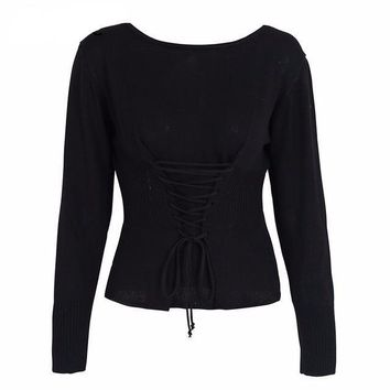 Corset Lace-Up Sweater