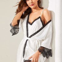 Floral Lace Satin Cami Dress With Robe