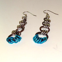 Brown and Blue Chainmaille Earrings...SRAJD
