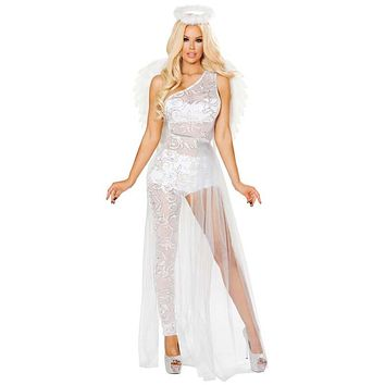 Sexy Daddy's Little Angel Halloween Catsuit with Sheer Skirt and Halo