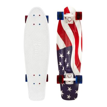 "Penny Nickel 27"" USA Flag White/White/Transparent Blue and Red Skateboard Complete - 2014"