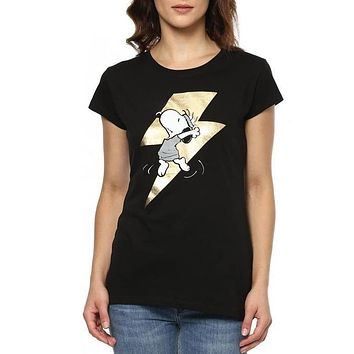 Peanuts Sleep Stories Black Half Sleeve Women Foil