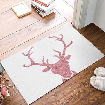 Autumn Fall welcome door mat doormat Pink Deer s Floor Bath Entrance Rug Mat Indoor Bathroom Kitchen Farmhouse Home Decor Non Slip s AT_76_7