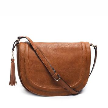Hot cross-body bag for women casual soft cover messenger bags solid saddle tassel high quality famous design