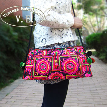 Embroidered bags national trend handmade double faced embroidery shoulder messenger bag  vintage women's small clutch handbag