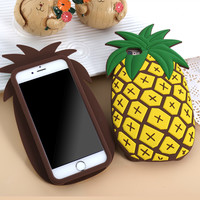 "LOVECOM New Fashion 3D Fruit Pineapple phone case cover For iPhone 6 6s 4.7"" 6Plus 5.5"" Soft Silicone Black cover coque Fundas"