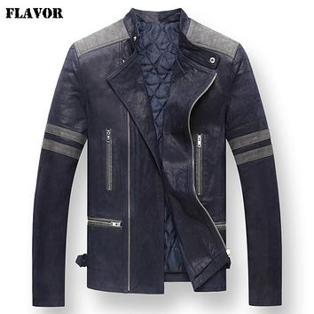 Men's real leather jacket motorcycle Genuine Leather jackets padding cotton warm coat