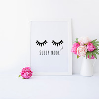 NURSERY WALL ART,Sleep Mode,Lashes Digital Art,Black Lashes,Nursery Decor,Printable Art,Nursery Poster,Quote Printable,Typography Quote