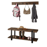 Foxford Reclaimed Wood Wall Coat Hook and Bench Set