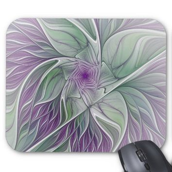 Flower Dream, Abstract Purple Green Fractal Art Mouse Pad