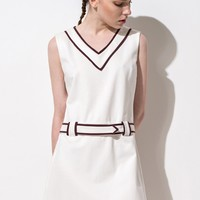 FRS White V-Neck Colorblock Hem A Line Dress
