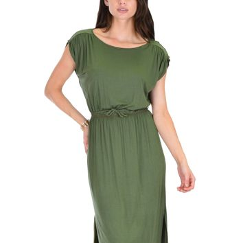 Lyss Loo My Everyday Tie Waist Olive Midi Dress