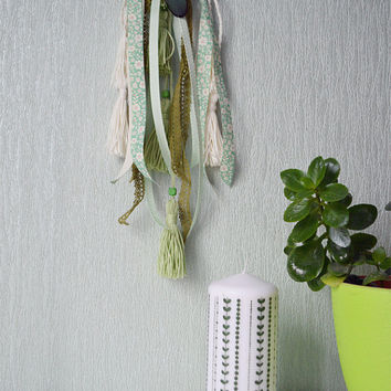 Spring Bohemian Dream Catcher, Home Decor, Wall decor, Wedding Decor, Gift, Boho Decor, Shamrock, Moss and Olive