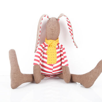 Easter Stuffed baby bunny doll , small plush softie rabbit doll - Brown rabbit doll in red striped shirt & dotted yellowscarf - Timohandmad