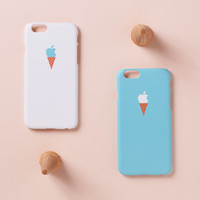 iPhone 6 Case - teal ice cream case - iPhone 6 case, iPhone 6 Plus case, iPhone 5s case, w/ Good Luck Gold Sticker,  non-glossy L03