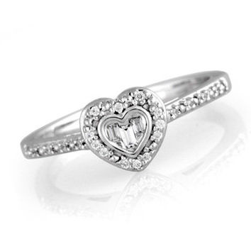 1/8 CT. T.W. Diamond Heart-Shaped Promise Ring in Sterling Silver - View All Rings - Zales