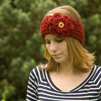 Ear Warmer Headband with Flower, Wood Button, Red, Christmas in July Sale, CIJ