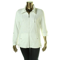Style & Co. Womens Cotton Long Sleeves Track Jacket