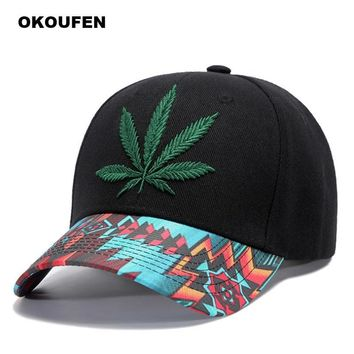 Trendy Winter Jacket OKOUFEN Brand 2018 Embroidery Hemp Leaf Snapback Cap Men Black Baseball Cap Men Cotton Sun Hat Women Dad Hats Cap Couple Bone AT_92_12