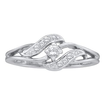 14kt White Gold Womens Round Diamond Solitaire Promise Bridal Ring 1/6 Cttw