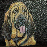 Bloodhound Dog Custom Painted Leather Men's wallet