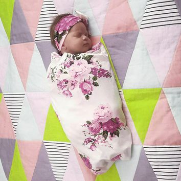 Newborn Infant Swaddle Blanket and Wrap Headband Set