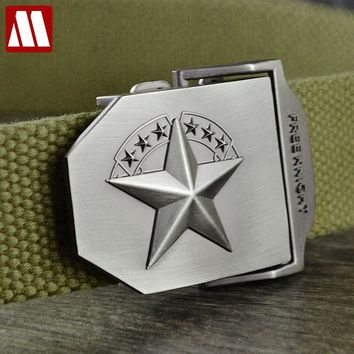 3D Red Star Automatic Buckle  Fashion Men's Tactical Canvas Belts