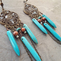 Bohemian Earth Goddess Earrings Antiqued Bronze Turquoise Tribal Tibetan Boho Hippie Nature