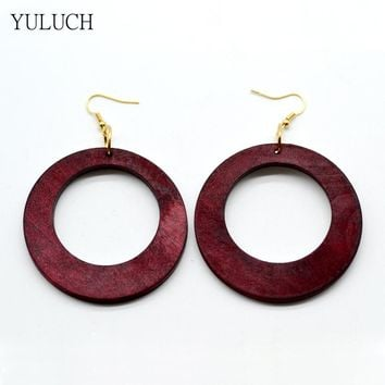 1 Pair Earring for Woman Fashion Latest African Wood Earrings Jewelry Big Round Personality Hollow Good Quality New Design