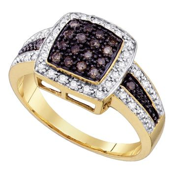 10kt Yellow Gold Womens Round Brown Color Enhanced Diamond Cluster Ring 1/2 Cttw - Size 6