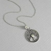 Tree of Life Necklace, Gift for Mom, Gift for Grandmother, Oxidized Sterling Silver Pendant on Sterling Silver Necklace Chain