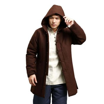Traditional Chinese Winter Jacket Flax Men Coat Hooded Parka Cotton-padded Tops Vintage Ethnic Overcoat Manteau Homme Abrigos