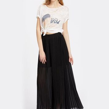 Black Elastic Waist Pleated Culotte Elegant Pants Fall High Waist Long Plain Trousers Pants For Ladies