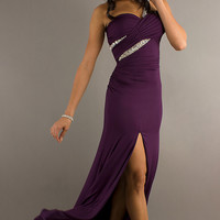 One Shoulder Purple Prom Gown