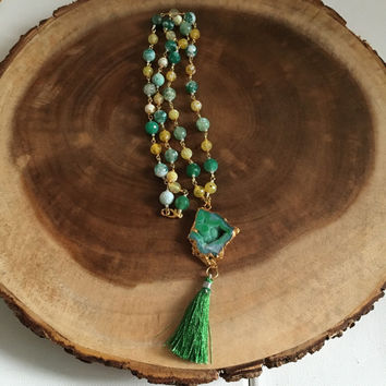 Yellow and Green Beaded Agate Druzy Tassel Necklace, Gemstone Necklace, Under 200 Dollars, Gift for Her, Spring Necklace