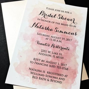Watercolor Bridal Shower Invitations - Bridal Shower Invites - NATASHA VERSION PINK Set of 25