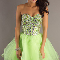 Strapless Party Dress, Baby Doll Dresses for Homecoming- PromGirl