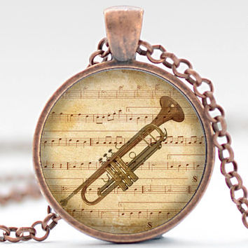 Trumpet Necklace, Music Charm, Band Geek Jewelry, Trumpet Pendant (1891)