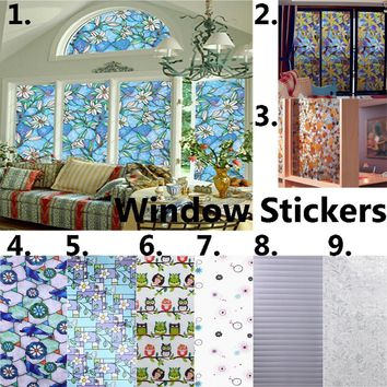 45x100cm Static Cling Film Window Stickers Stained Glass Waterproof  Floral Stickers DIY Craft Home Decorative