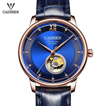 CADISEN Men/Women's Stainless Steel Automatic Leather Skeleton Watches